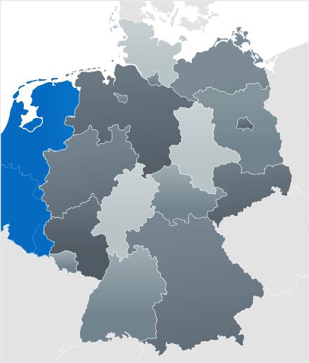 Karte der BeNeLux Staaten