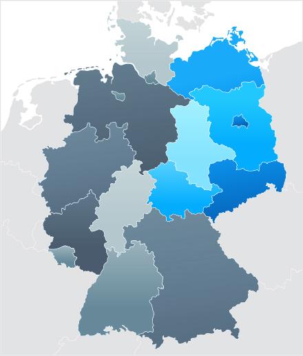 Karte von Nord-ost Deutschland