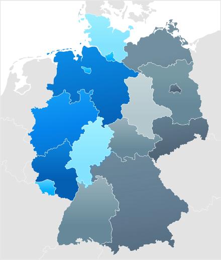 Karte von Deutschland Nordwest