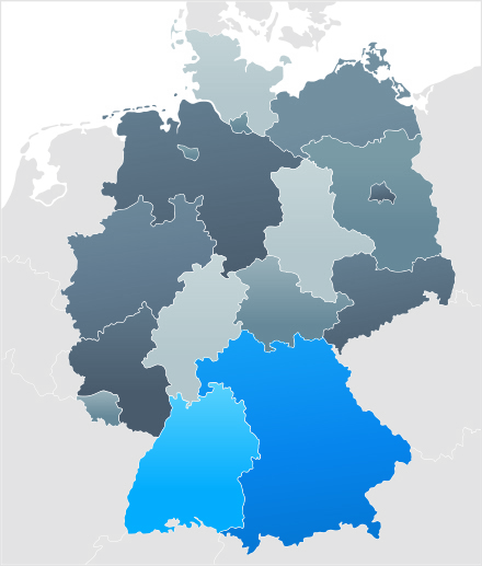 Karte von Deutschland Süd